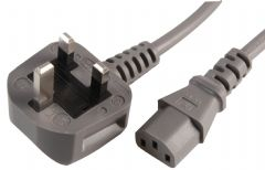 PRO ELEC PE01068  Lead Uk Plug To Iec C13 Skt 10A Gry 3M